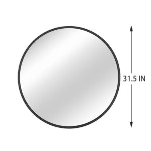 Black Round Wall Mirror 31.5 Inch Large Round Mirror Metal Black Round Mirror For Wall