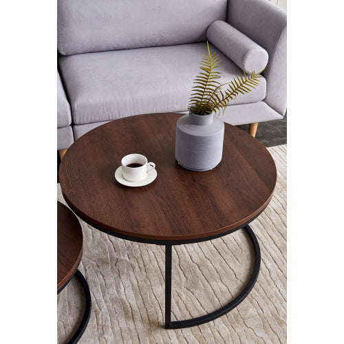 Modern Nesting coffee table,Black color frame with walnut top-32""