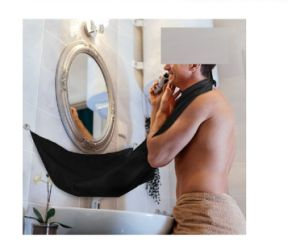 Waterproof Self Grooming Cloth with Suction Cups for Mirror - Men Shaving Beard Trimming Hair Catcher Cape