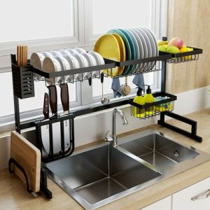 Stainless Steel Over Sink Dish Drying Rack Drainer Kitchen Cutlery Shelf 2-Tier