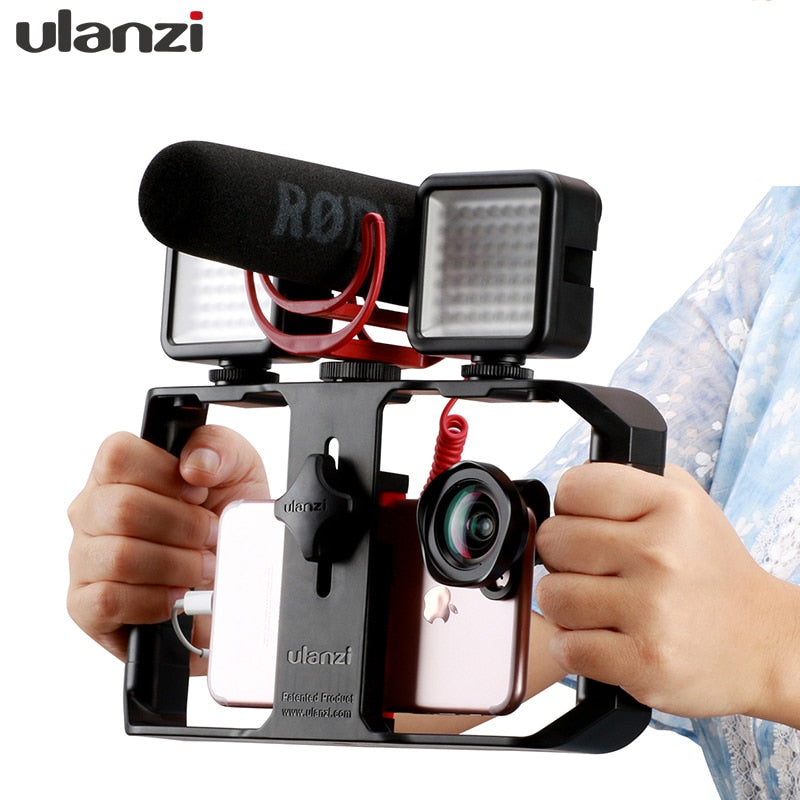 Ulanzi U Rig Pro Handle Rig Triple Hot Shoe Mounts Video Stabilizer Vlog Grip for iPhone Mobile Filmmaker for microphone