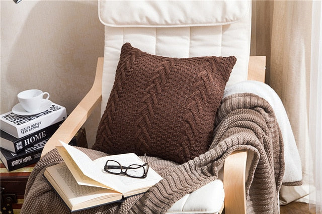 Twist Woven Design Wool Knitting Pillow Cover 45x45
