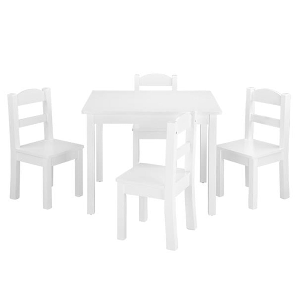 66Lx56Wx48H   Kids Wood Table & 4 Chairs Set White
