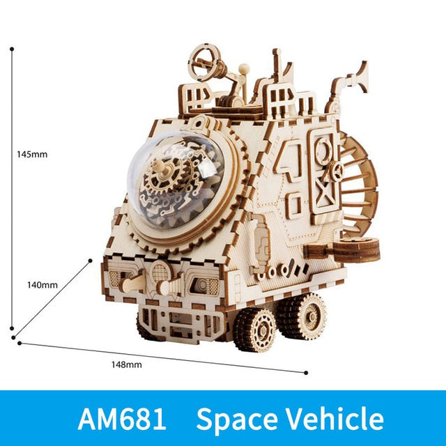 Robotime ROKR Steampunk Music Box 3D Wooden Puzzle Assembled Model Building Kit Toys For Children Birthday Gift Drop Shipping