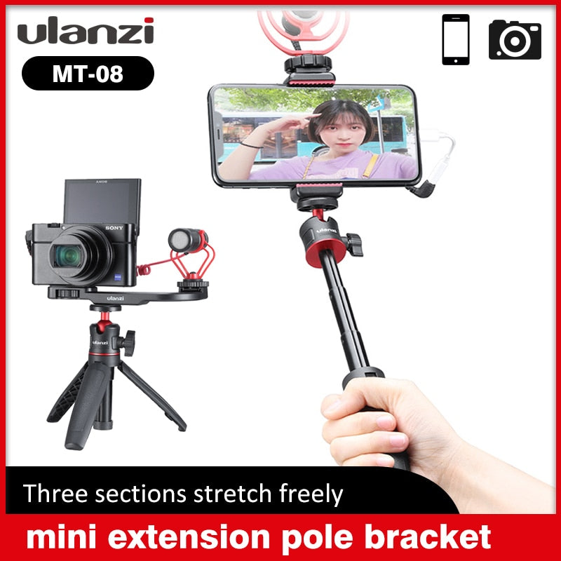 Ulanzi MT-08 Mini Extendable camera Desktop mobile Tripod for DSLR SLR Phone Vlog Extend Tripod 1.5KG Maxload Adjustable Tripod