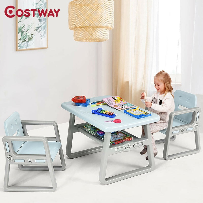 Kids Easy Store Table and 2 Chairs Set with Storage Shelf - Blue
