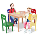 5 Pcs Kids Pine Wood Table Chair Set  Chairs Children Table Set HW55008