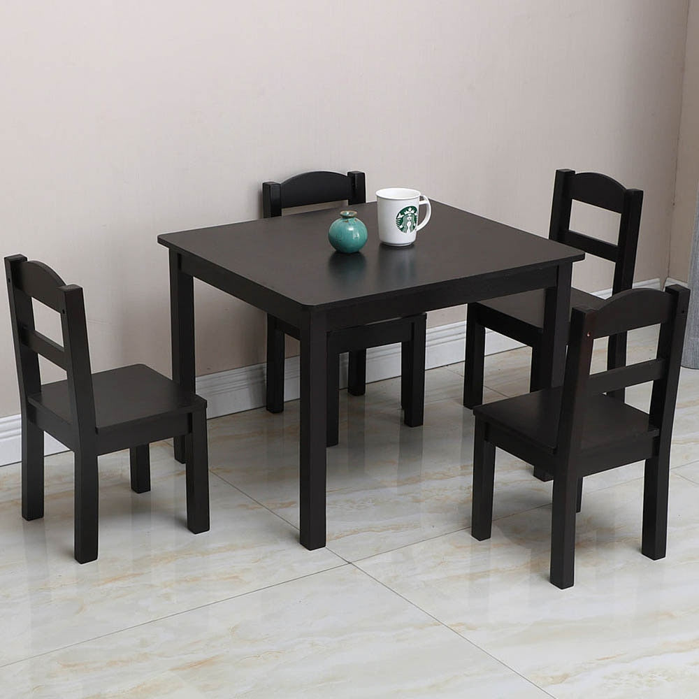 Kids Square Wood Table and 4 Chairs Set