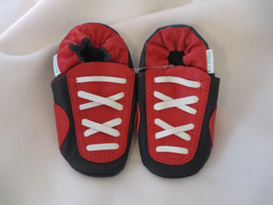 Age: 18-24 Months. Top: Red and Black with Criss-Cross White Laces. Sole: Black.