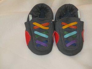 Age: 18-24 Months.  Top: Dark Grey with Rainbow Criss-cross Laces.  Sole: Dark Grey.