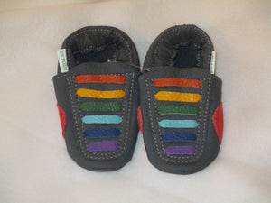 Age: 18-24 Months. Top: Dark Grey with Rainbow Straight Laces.  Sole: Dark Grey.