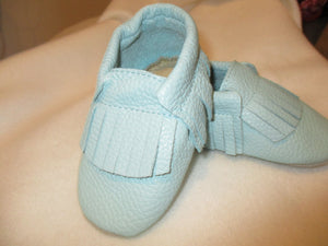 Age/Size:  2 years. Top: Aqua and Aqua Fringes. Sole: Natural Suede.