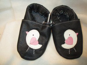 Age/Size: 18-24 Months. Black Shoes.  White Pink Baby Birds. Sole: Black.