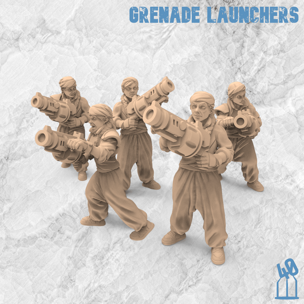 grenade launcher troops alternative guard 3d printing female guard guardswomen miniature azadi death front 40emperor