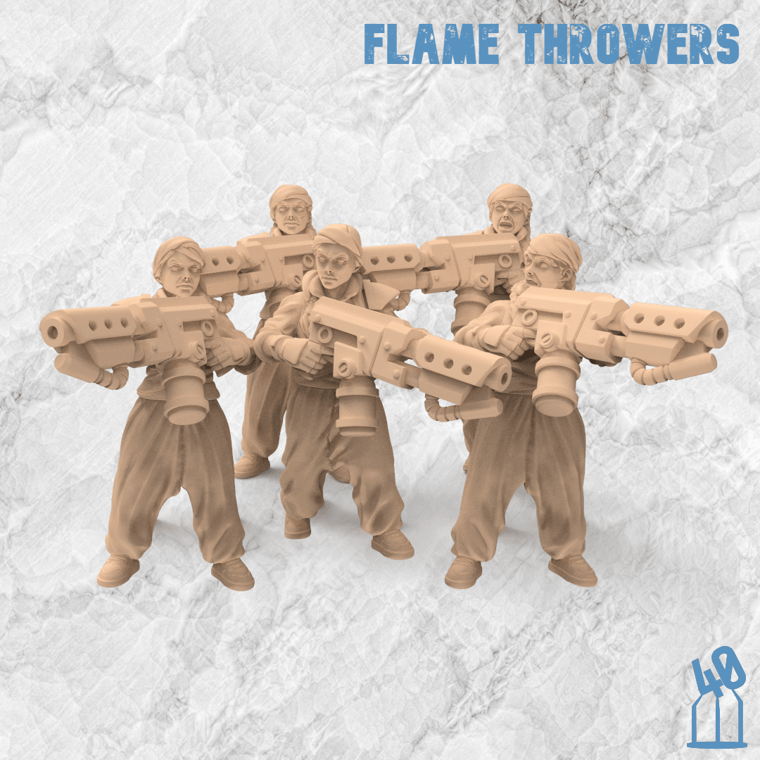 flame thrower troops alternative guard 3d printing female guard guardswomen miniature azadi death front 40emperor