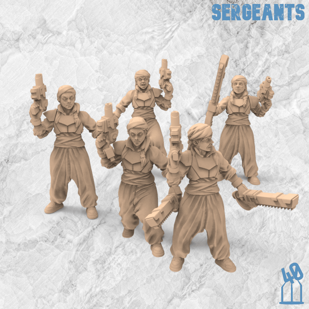 sergeants Azadi Death Front 40Emperor 3Dprinting miniatures Presupported