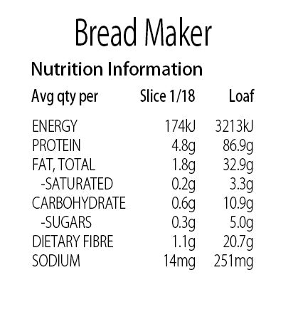 Keto Store NZ | Bread Maker Nutritional Information Panel