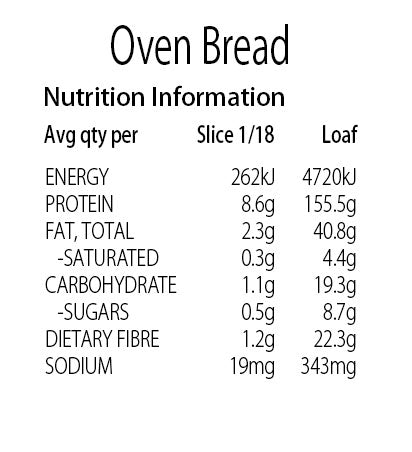 Keto Store NZ | Oven Bread Nutritional Information Panel