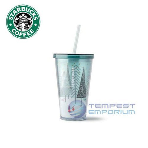 Starbucks-Snow-Day-Cold-Cup-Mug-with-Straw-473-ml-/-16-fl-oz-Brand-New