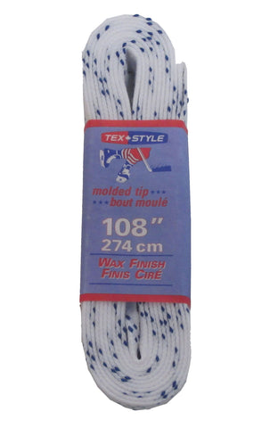 Tex Style Wax Finish Skate Laces - White