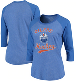 Edmonton Oilers NHL Majestic - Women's Softhand 3/4 Sleeve T-Shirt