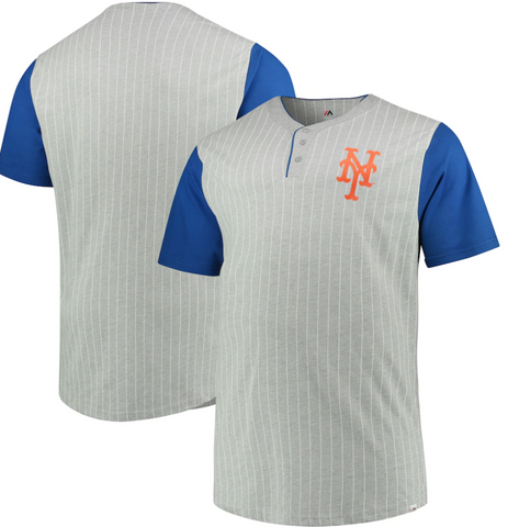 New York Mets MLB Majestic - Pinstripe Henley T-Shirt