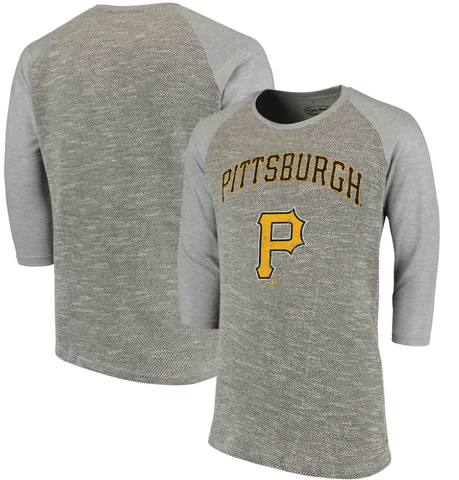 Pittsburgh Pirates MLB Majestic Threads - French Terry 3/4-Sleeve T-Shirt