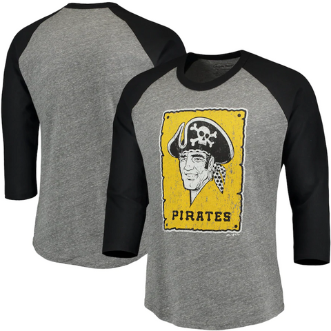 Pittsburgh Pirates Majestic Threads Cooperstown Collection 3/4-Sleeve Raglan Tri-Blend T-Shirt