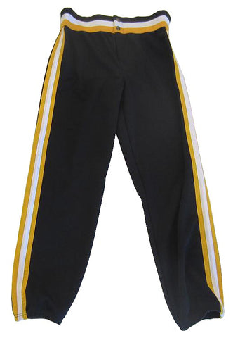 Athletic Knit – Double Knit League Baseball Pants (Black-Gold-White)