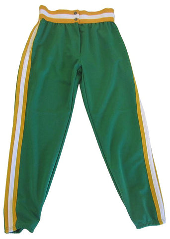 Athletic Knit – Ladies Cut Double Knit League Baseball Pants (Green-Gold-White)