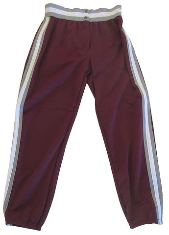 Athletic Knit – Ladies Cut Double Knit League Baseball Pants (Maroon-Grey-White)