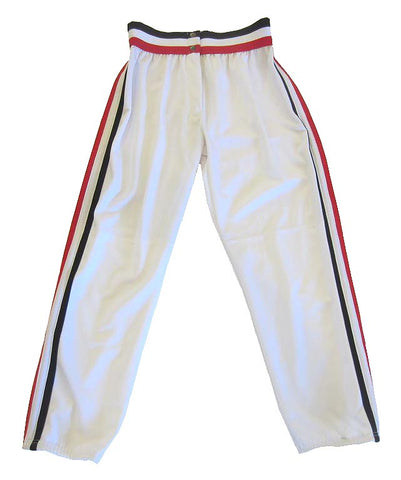 Athletic Knit – Ladies Cut Double Knit League Baseball Pants (White-Red-Black)