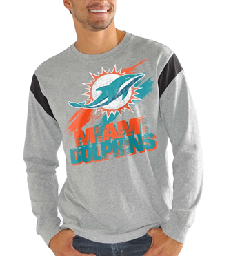 Miami Dolphins NFL - Receiver Slub Jersey Long Sleeve T-Shirt