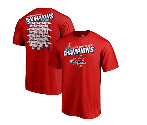 Washington Capitals NHL Fanatics - Stanley Cup Champs Jersey Roster T-Shirt