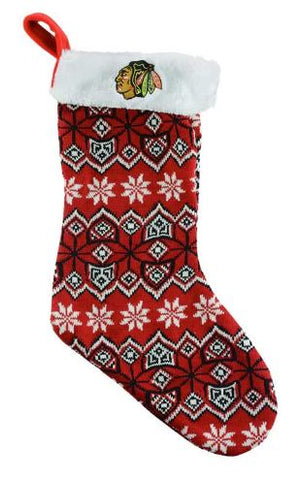 Chicago Blackhawks NHL - Ugly Sweater Knit Christmas Stocking