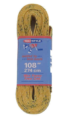 Tex Style Wax Finish Skate Laces - Yellow