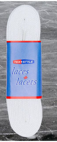 Tex Style Solid White Non Waxed Hockey Laces