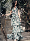 Maria Elena Villamil, Gowns, Colombian Designer, Long sleeveless dress with ruffes and boleros