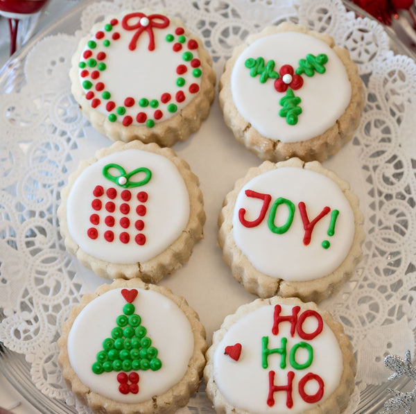 "6-piece ""Christmas Joy"" Gourmet Decorated Shortbread Cookies"