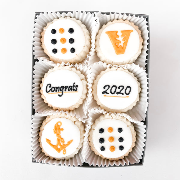 "6-piece ""Congrats"" Gourmet Decorated Shortbread Cookies"