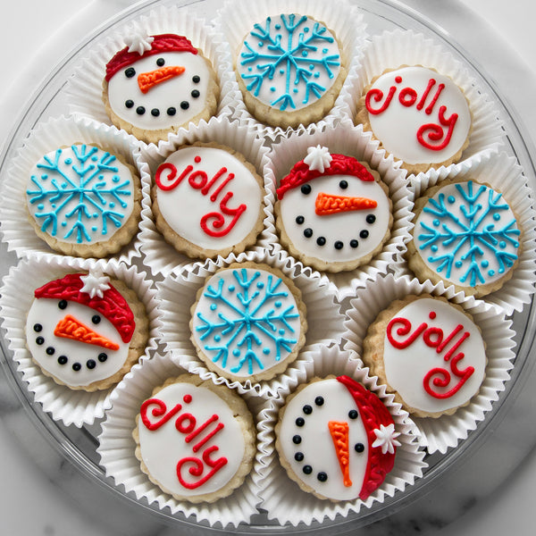 """Jolly"" Holiday Shortbread Cookies Gift Tin - Gourmet Cookies, Custom Shortbreads & Holiday Gifts 