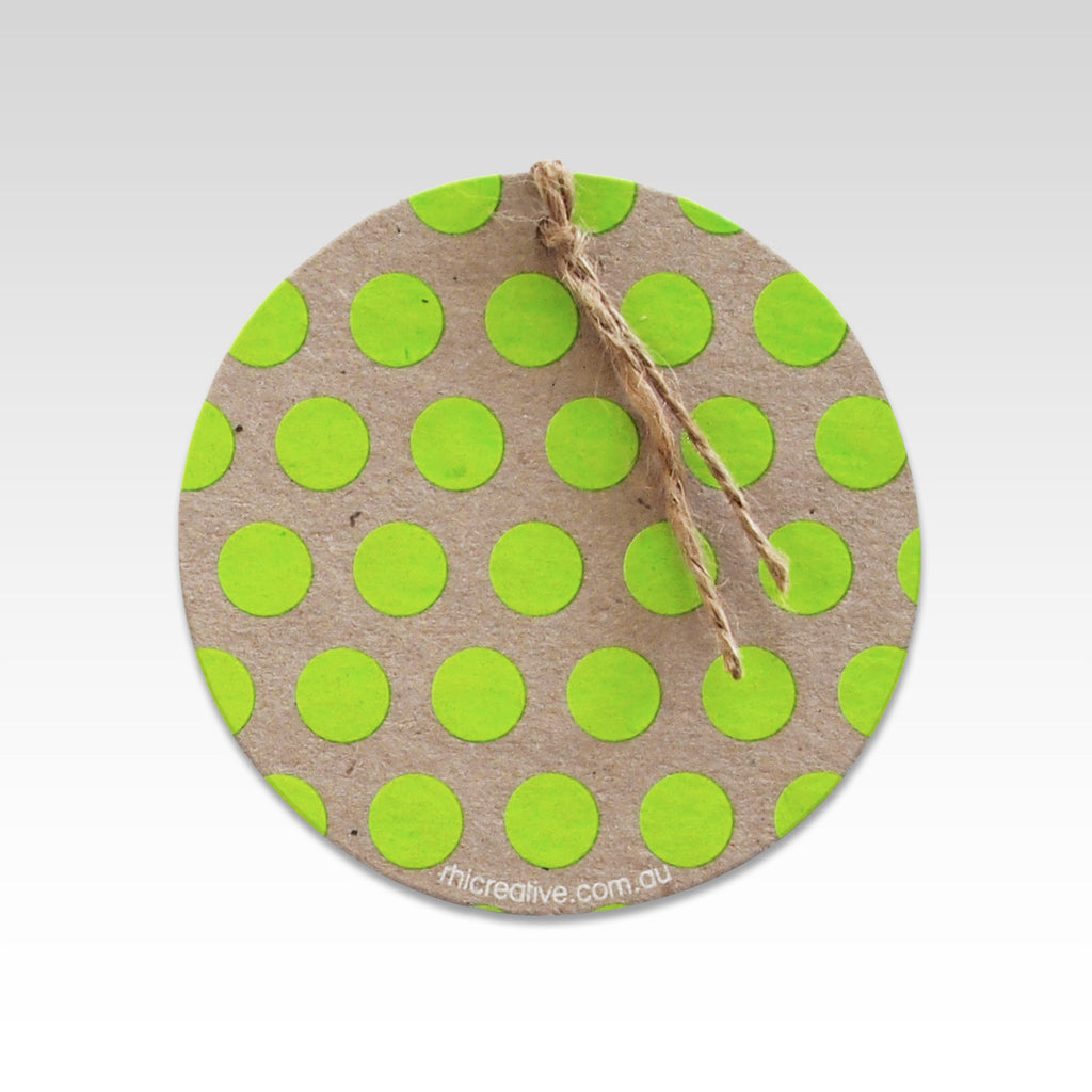 POLKA DOT GIFT TAG  - FLURO GREEN