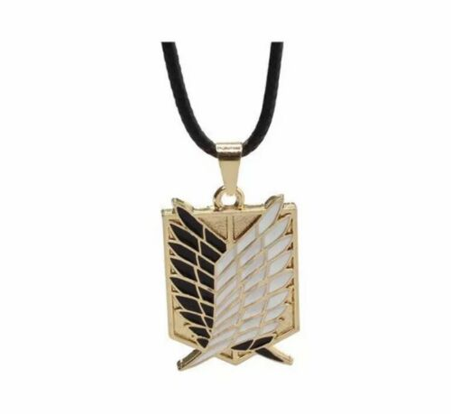 Attack On Titan Survey Corps Symbol Gold And Black Color Necklace Aot Cosplays.