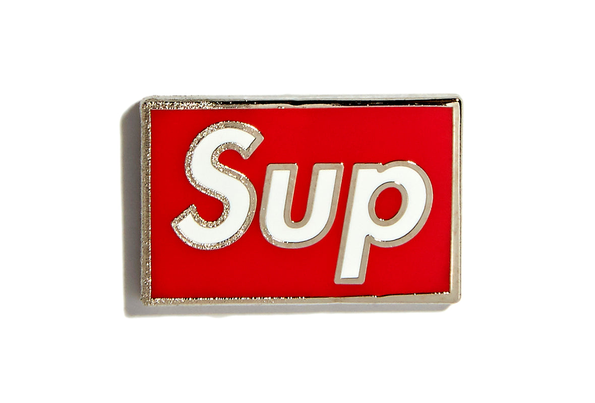 Pin Sup - White on Red