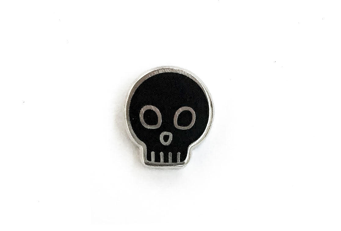 Mini Skull Pin - Black and Silver