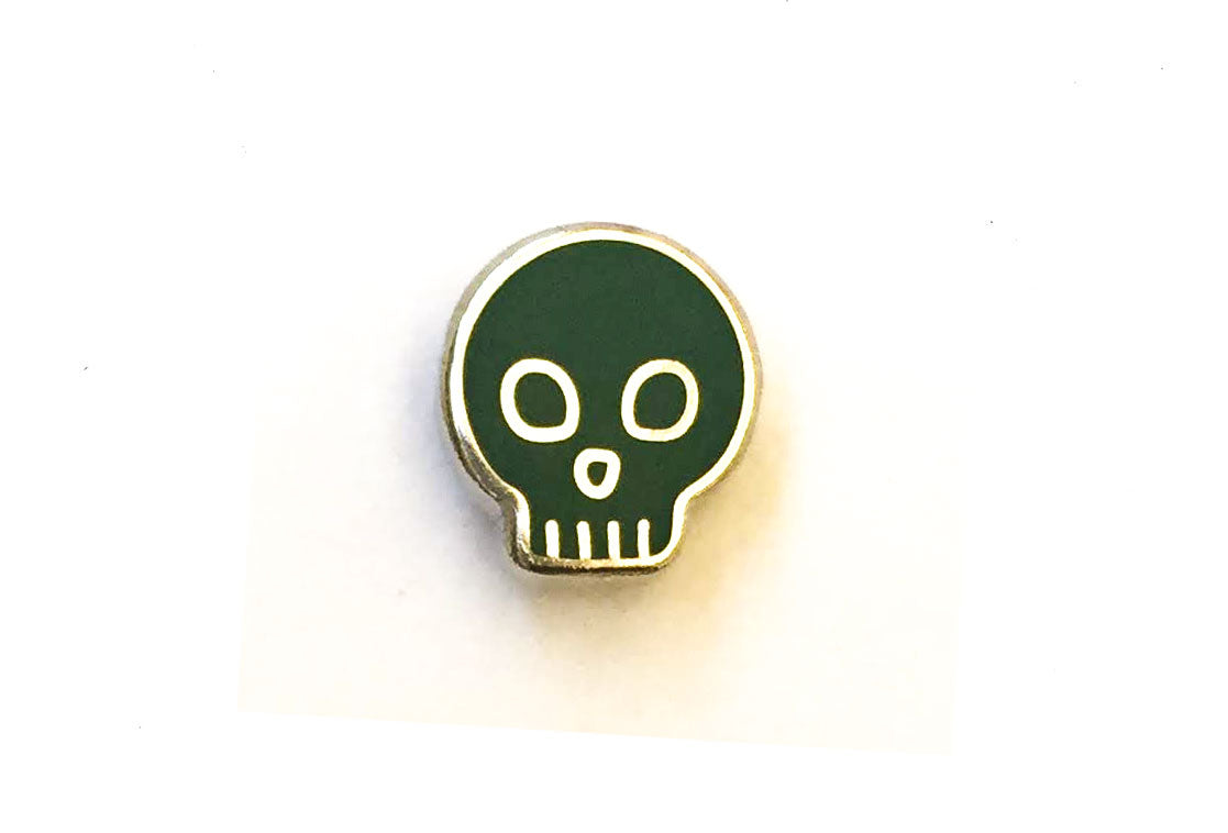 Mini Skull Pin - Dark Green and Silver