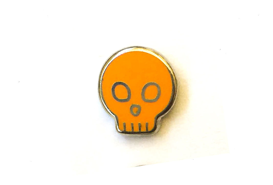 Mini Skull Pin - Orange and Silver
