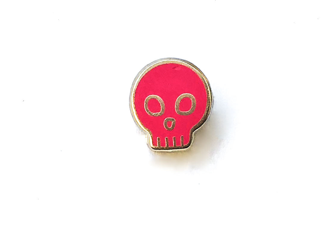 Mini Skull Pin - Pink and Silver