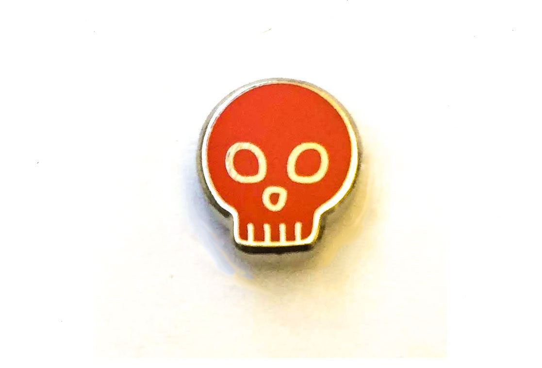 Mini Skull Pin - Red and Silver