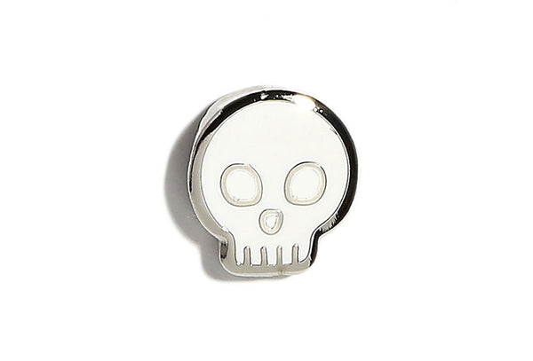 Mini Skull Pin - White and Silver